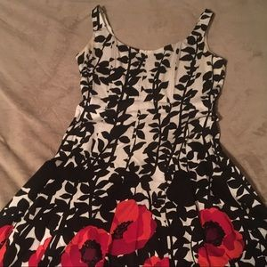 Black and white dress with red poppies.